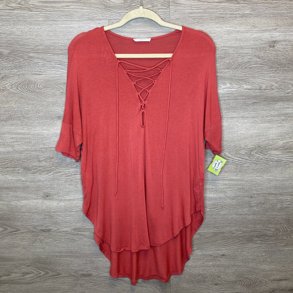 S: Coral Super Soft Front Tie Drape Tee