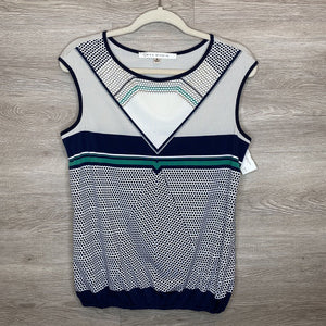 S: Navy + Green Dot Pattern Silky Tank