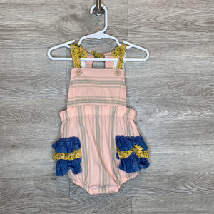 18-24M: Pink Striped Chambray + Floral Ruffle Romper