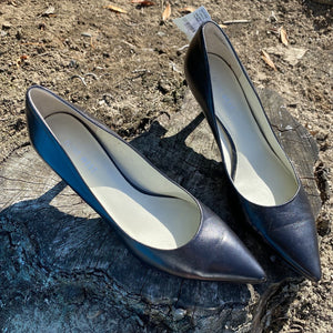 Size 7.5: Pointed Toe Black Leather Pumps