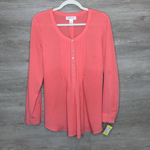 M: Coral Silky Pleated Bust L/S Blouse