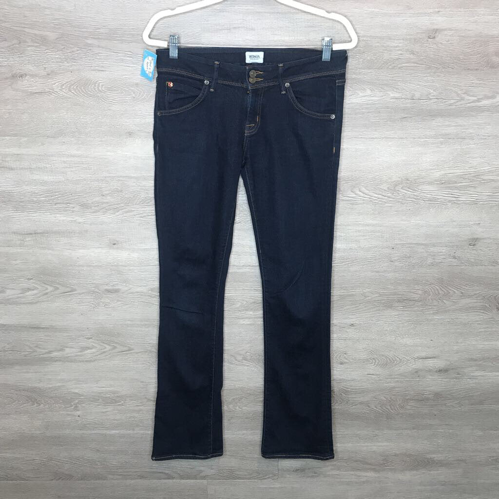Size 28: Dark Wash Double Button Boot Cut Jeans