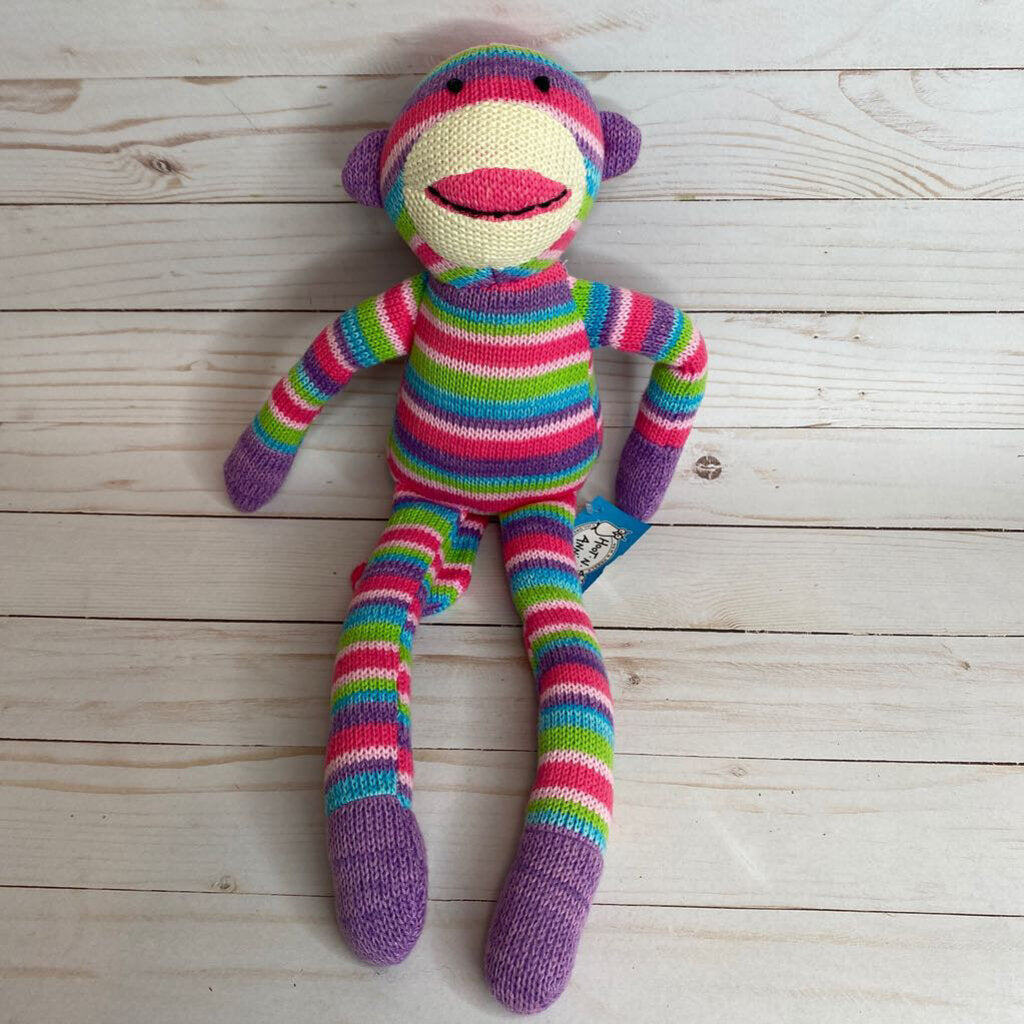 Rainbow Knit Monkey Plush