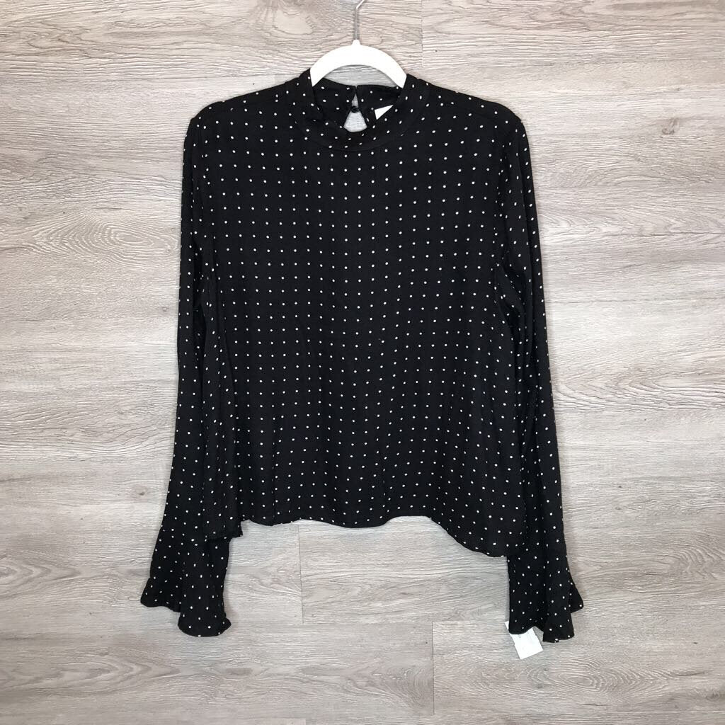 M: B&W Polka Dot Mock Neck Bell Sleeve Top