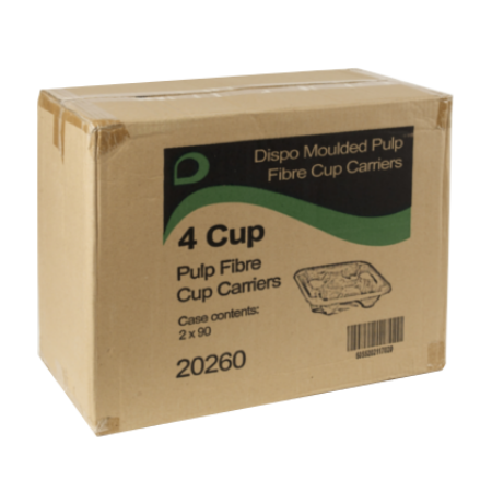 Cardboard Coffee Cup Carry Tray - 4 Cup (180)