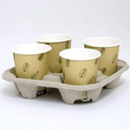 Cardboard Coffee Cup Carry Tray - 4 Cup (360) - DiscountCoffee