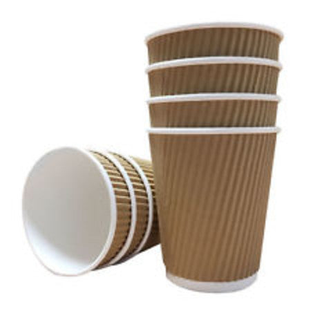8oz Triple Wall Kraft Ripple Paper Cups 500 (227ml) - DiscountCoffee