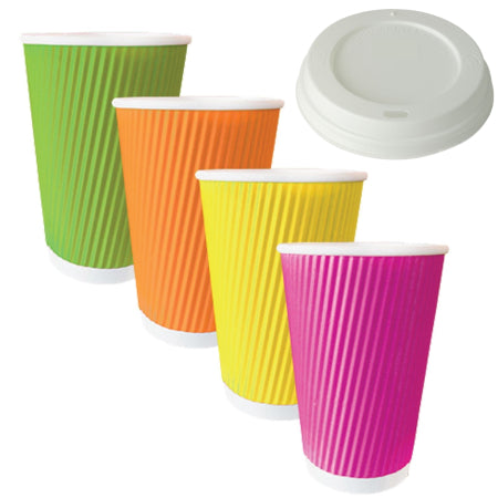 8 oz Rainbow Triple Ripple Wall Cups and Lids - 50 | Discount Coffee