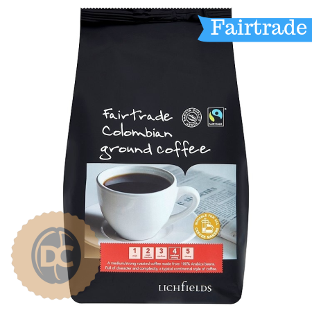 Lichfield Fairtrade Colombian Ground Coffee (500g) - DiscountCoffee