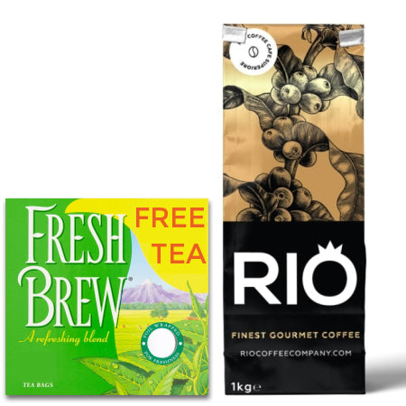 Rio Montoya Coffee Beans (4x1kg) - PLUS A FREE BOX OF TEA | Discount Coffee
