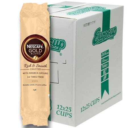 Nescafe Gold Blend 73mm Incup White Coffee - Bulk Buy (12 x 25 Cups)