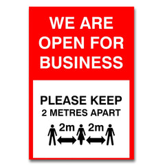 We Are Open Social Distancing Poster (A4) Image