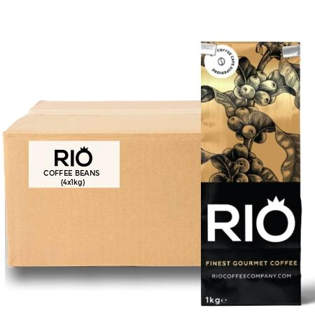 Rio Cafe Crema Coffee Beans - 100% Arabica (4x1kg) | Discount Coffee