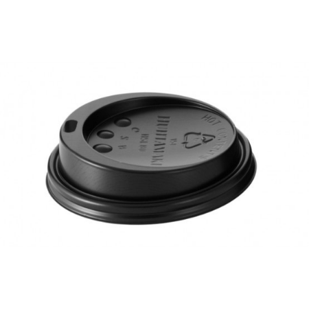12 - 16 oz Black Domed Lids (1000)
