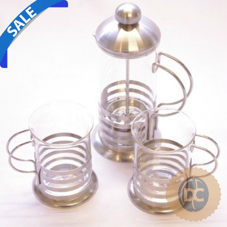 Glass 2 Cup Cafetiere Set - Sale - DiscountCoffee