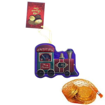 Christmas decorative tin with milk chocolate coins | Discount Coffee