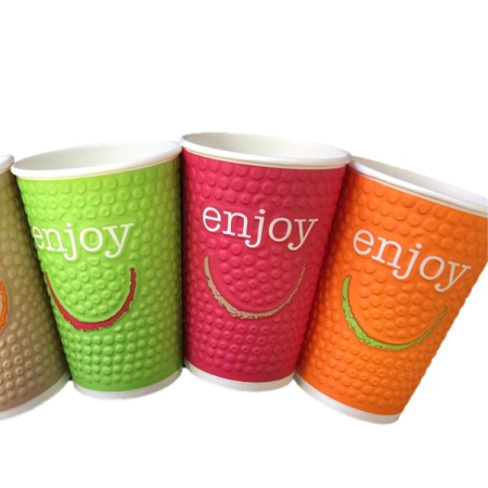 Enjoy 12oz Bubble Paper Cups Plus FREE Lids (40)