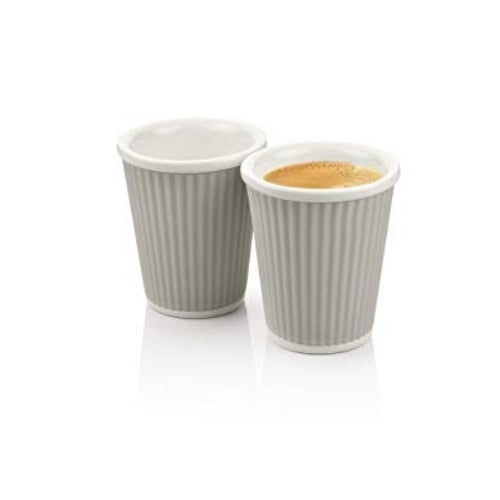 Two Grey Espresso China Cups from Les Artistes | Discount Coffee