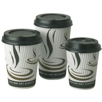 12oz Triple Wall Ripple Paper Cups 500 (340ml) - DiscountCoffee
