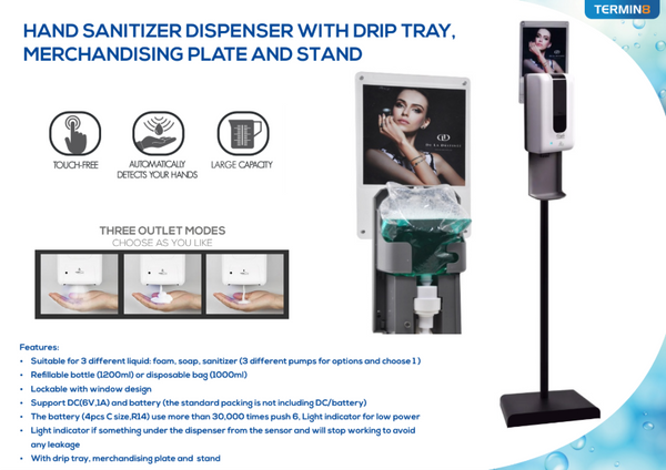 Hands-Free Sanitiser Dispenser With Stand & Merchandising Plate | Discount Coffee