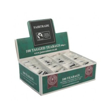James Aimer Fairtrade String And Tag Teabags (100) - DiscountCoffee