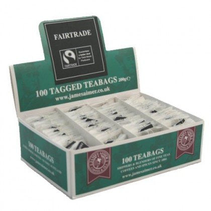 James Aimer Fairtrade String And Tag Teabags (6 x 100) - DiscountCoffee