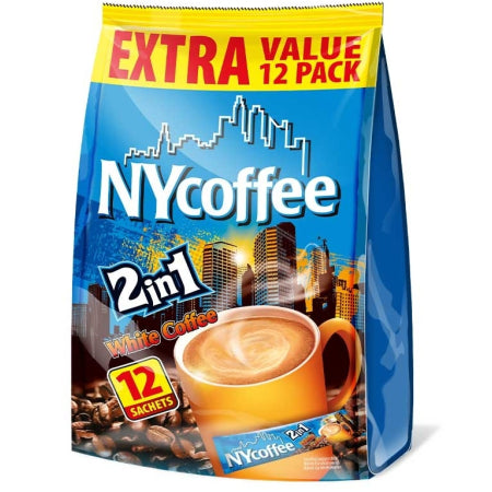 NY Coffee Instant White Coffee 2 in 1 Sachets (12) | Discount Coffee