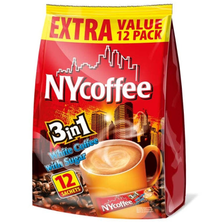 NY Coffee Instant White Coffee with Sugar 3 in 1 Sachets (12) | Discount Coffee