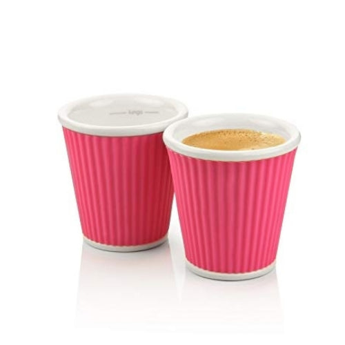 Two Pink Espresso China Cups from Les Artistes | Discount Coffee
