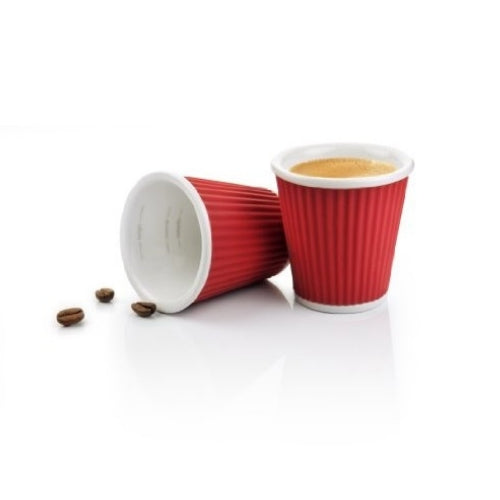 Two Red Espresso China Cups from Les Artistes | Discount Coffee