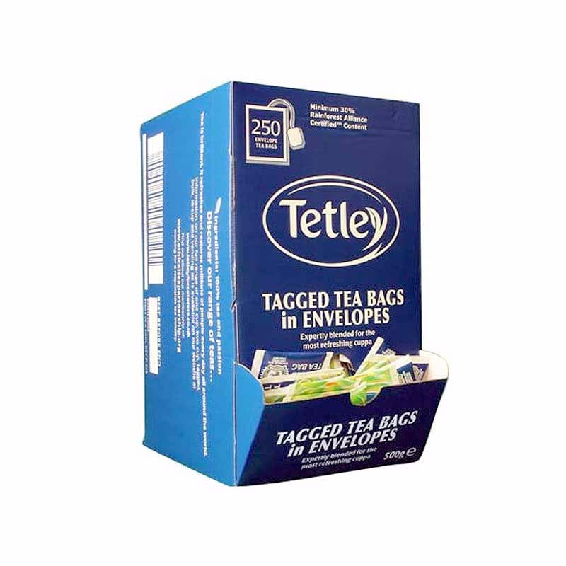 Tetley Tag & Envelope Teabags (250 teabags) - DiscountCoffee