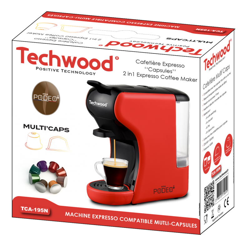 Machine à café Expresso&Nespresso Multi'Caps rouge TCA-195N