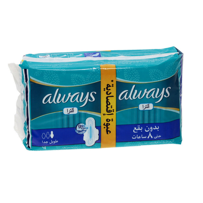 Serviettes hygiéniques Ultra Mince Duo Long Le paquet de 14