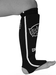 SANDEE-Black & White Cotton Slip-on Competition Shinguard