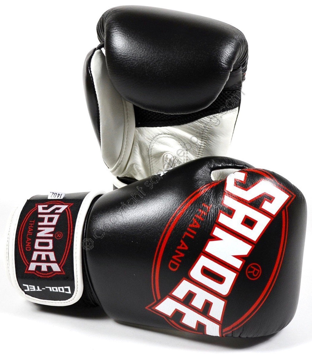SANDEE-JUNIOR Cool-Tec Velcro Black, White & Red Synthetic Leather Boxing Glove