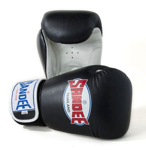 SANDEE-JUNIOR Authentic Velcro Black & White Synthetic Leather Boxing Glove