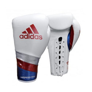 Adidas-AdiSpeed white/red Lace Boxing Gloves