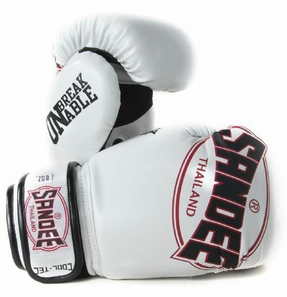 SANDEE-JUNIOR Cool-Tec Velcro White, Black & Red Synthetic Leather Boxing Glove