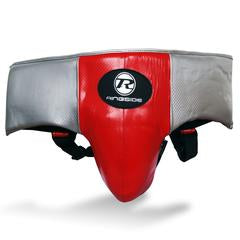 RINGSIDE-Pro Fitness  Red/Black/Silver Groin Guard Synthetic Leather