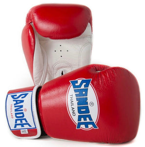 SANDEE-JUNIOR Authentic Velcro Red & White Synthetic Leather Boxing Glove