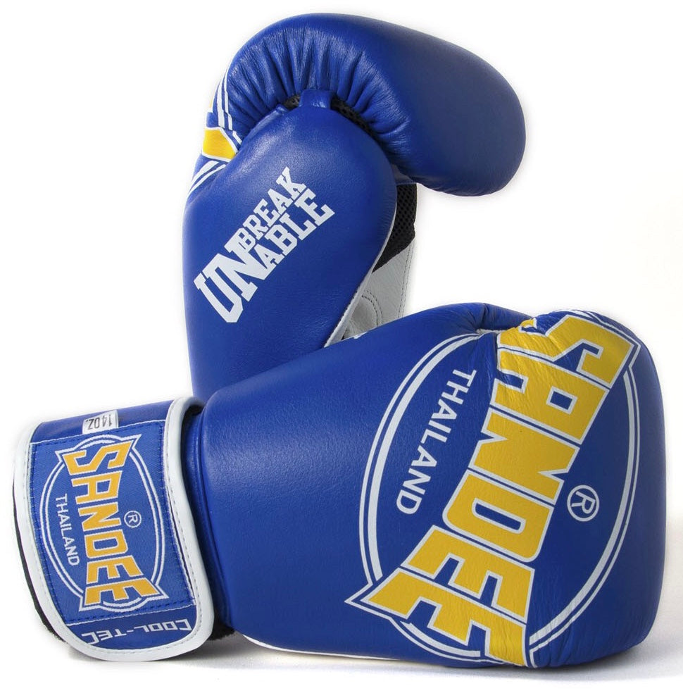 SANDEE-JUNIOR Cool-Tec Velcro Blue, Yellow & White Synthetic Leather Kids Boxing Gloves