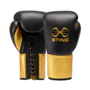 STING-EVOLUTION BBBOFC APPROVED BLACK/GOLD FIGHT GLOVES
