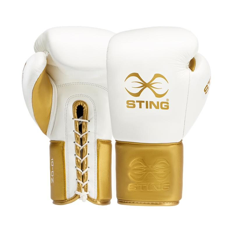 STING-EVOLUTION BBBOFC APPROVED WHITE/GOLD FIGHT GLOVES