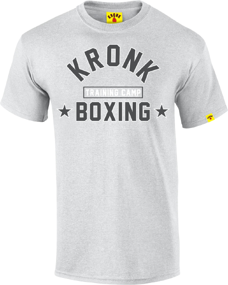KRONK-Training Camp T Shirt Sport Grey-White & Charcoal Print