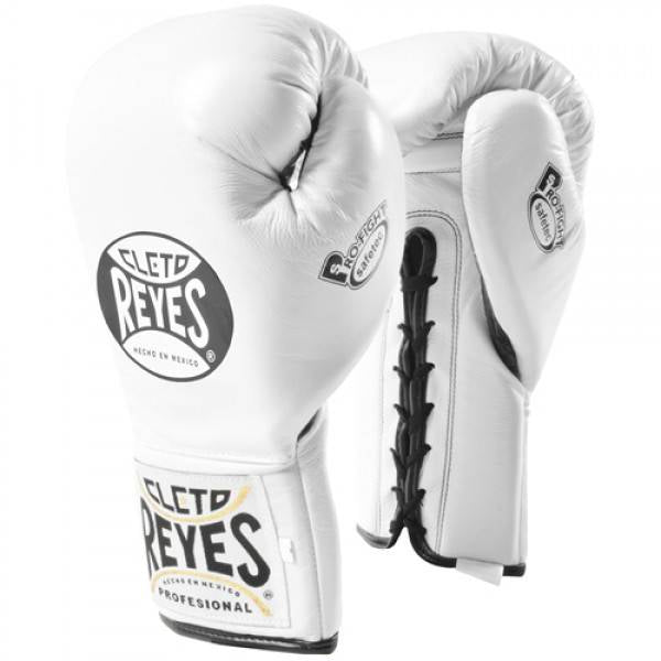 CLETO REYES-WHITE 'Safetec' Pro Fight Boxing Gloves