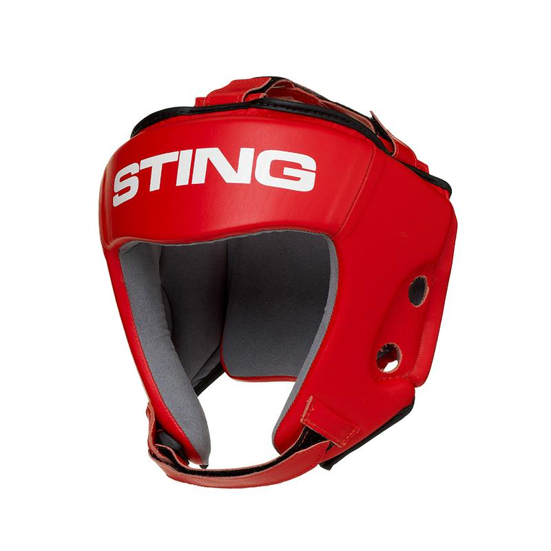STING-RED Competition Leather Head Guard AIBA APPROVED