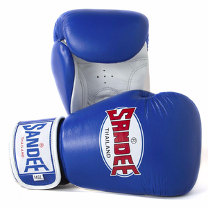 SANDEE-Authentic Velcro Blue & White Leather Boxing Glove