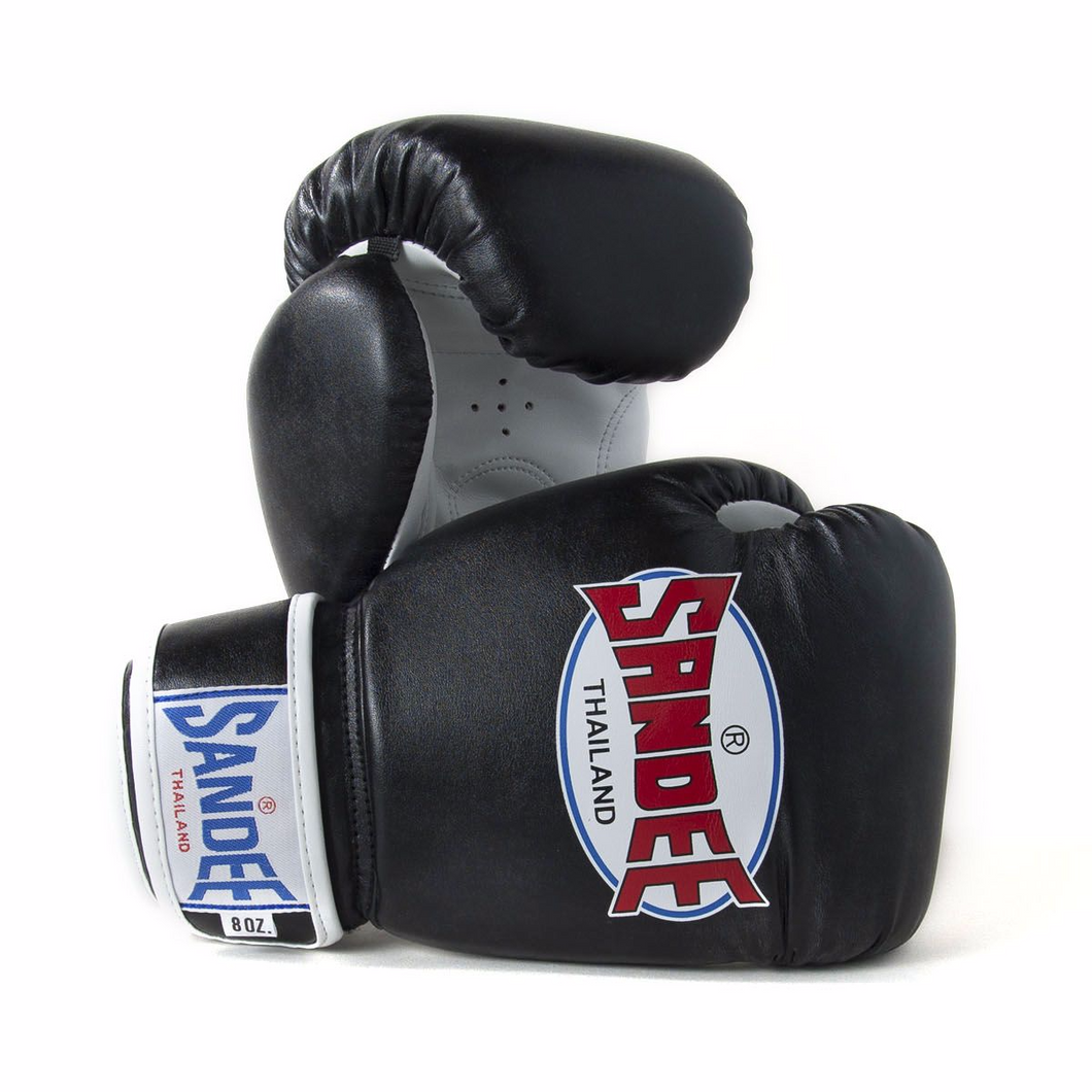 SANDEE-Authentic Velcro Black & White Leather Boxing Glove