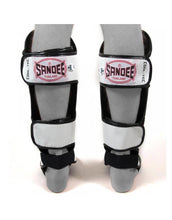 Load image into Gallery viewer, SANDEE- Cool-Tec Cool-Tec White, Black & Red Leather Boot Shinguard