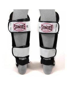 SANDEE- Cool-Tec Cool-Tec White, Black & Red Leather Boot Shinguard